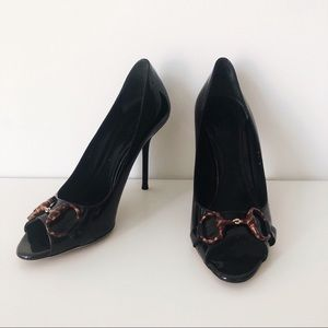 Gucci Black Patent Horsebit Peep Toe Pumps
